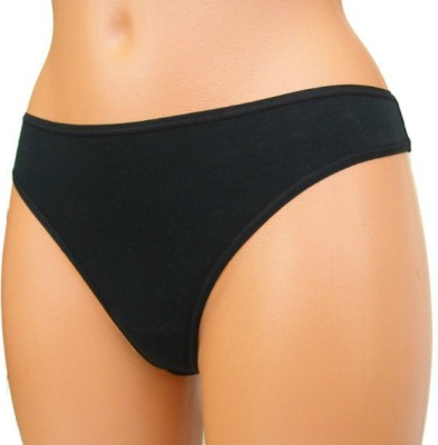 Luxemburg Black Cotton Women's Thong Black Panty