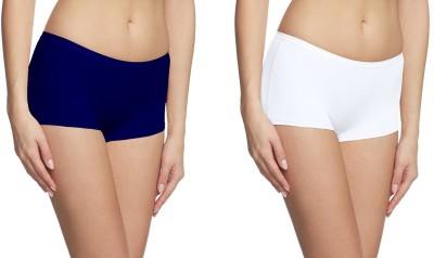 Fashion Line Women's Boy Short White, Blue Panty