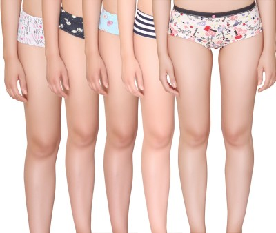 Vivity Assorted Women's Brief Multicolor Panty(Pack of 5) at flipkart