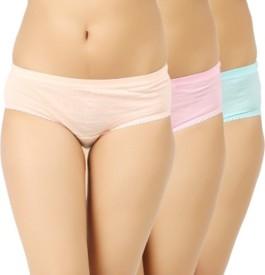 KRG Enterprises Women's Brief Beige, Pink, Green Panty(Pack of 3)