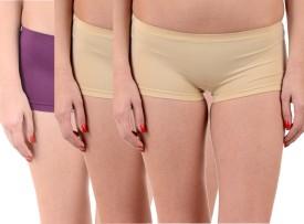 Lienz Women's Boy Short Purple, Beige Panty(Pack of 3)