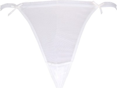 Peches ruffled Edging & Satin bow Women's Bikini White Panty