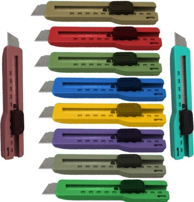 Ikon Hand-held Paper Cutter Plastic Grip Hand-held Paper Cutter(Set Of 10, Multicolor)
