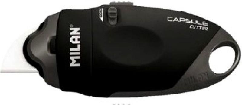 Milan Capsule Rubber Grip Hand-held Paper Cutter(Set Of 1, Black)