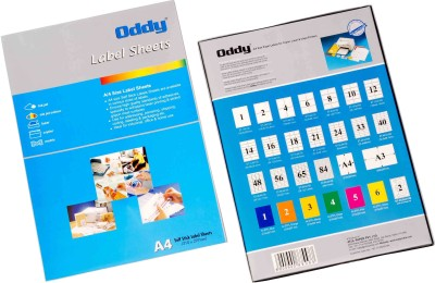 Oddy A4 Size Paper For Laser, Inkjet & Copiers 33 Label Sheet - 100 Pcs. Pack Self-adhesive Paper Label