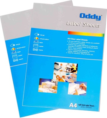 Oddy A4 Size Paper For Laser, Inkjet & Copiers 18 Label Sheet - 100 Pcs. Pack Self-adhesive Paper Label