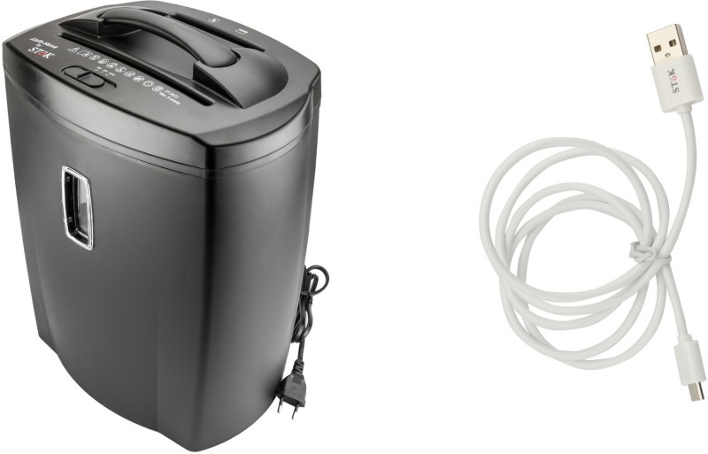 SToK COMBO ST-30CC WITH 1mtr ANDROID CABLE Level 5 Cross-cut Office Paper Shredder(BLACK)