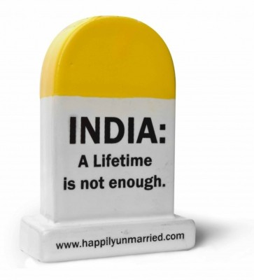 Happily Unmarried India Lifetime Milestone Ceramic Paper Weights(Set Of 1, Yellow)
