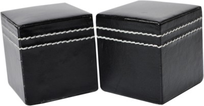 Knott PW-Series Leather Paper Weights with Square shape(Set Of 2, Black)