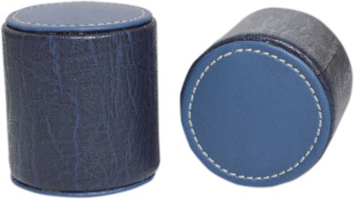Knott PW-series Leather Paper Weights with Cyllender(Set Of 2, Blue)