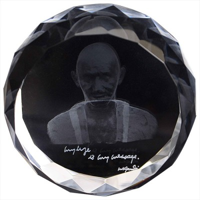 Eternal Gandhi Super Series Crystal Paper Weights  with Silver Finish