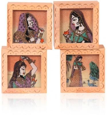 Rajwada Arts Rajasthani Wood Paper Weights  with Gold Finish(Set Of 4, Multicolor)