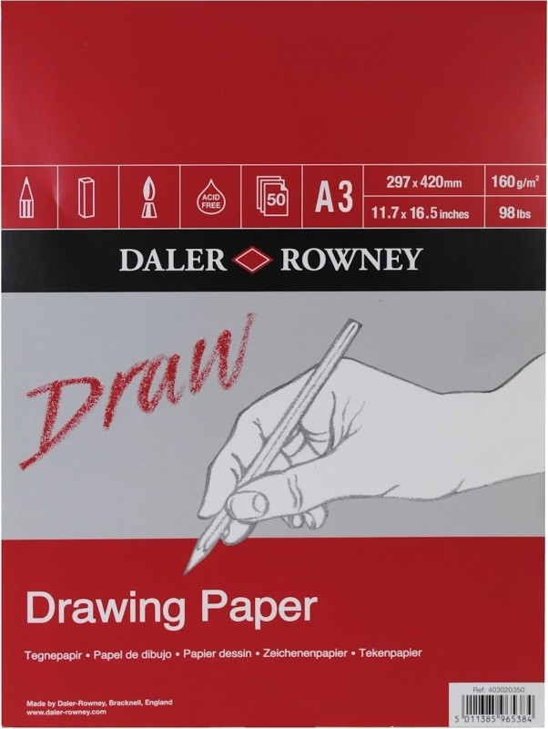 Daler-Rowney Medium Grain A3 Drawing Paper