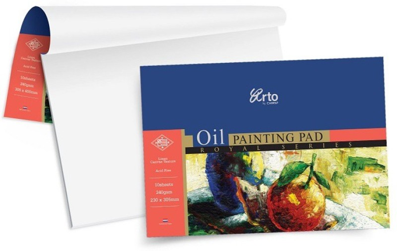 Campap Arto Royal Four Sided Glued A4 Oil Painting Paper(Set of 1, White)