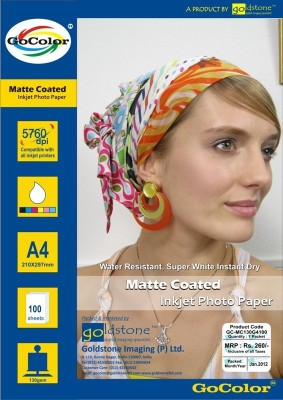 GoColor Matte Coated Inkjet Photo Paper 130 Gsm A4/ 100 Sheet Unruled A4 Photo Paper