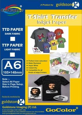 GoColor Tshirt Transfer 120 Gsm Inkjet Photo Paper Light Fabrics A6/ 20 Sheet Unruled A6 Photo Paper