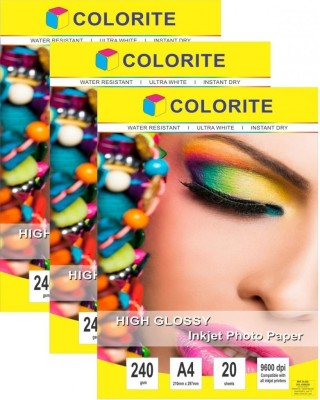 Colorite 240gsm Sheets Cast Coated Inkjet Unruled A4 Photo Paper