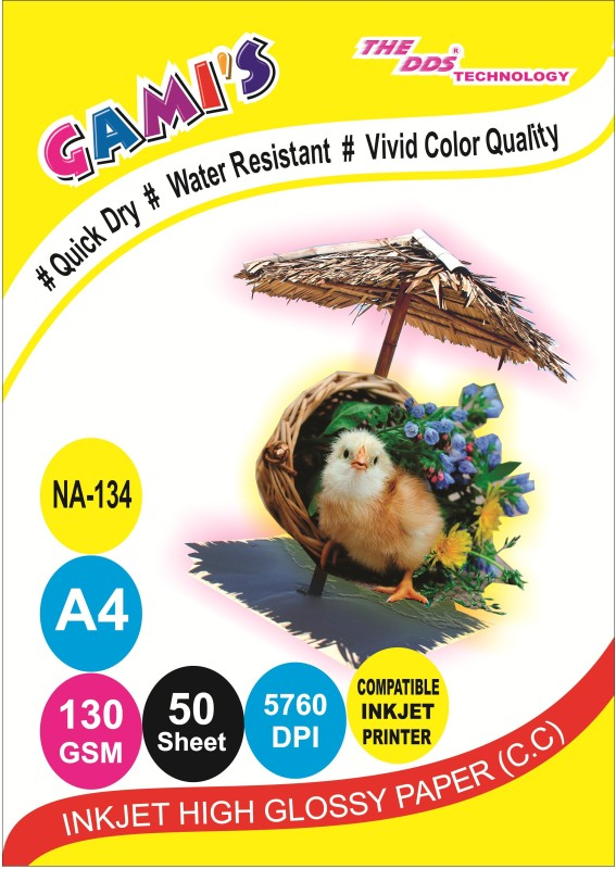 DDS DDS High Glossy Inkjet Photo Paper 130 Gsm A4/ 50 Sheets PACK-20PKT-1000 SHEET CARTON Unruled A/4 Inkjet Paper(Set of 20, WHITE)
