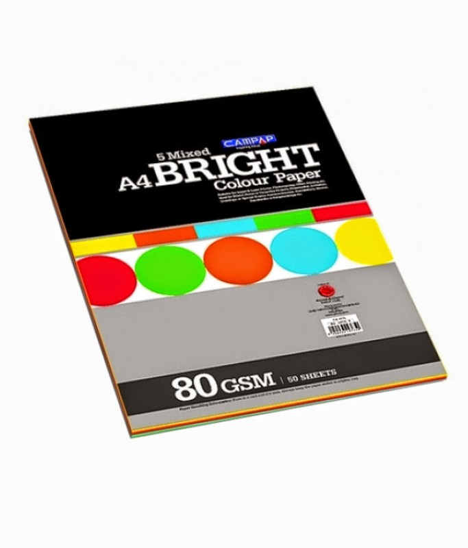 Campap Bright Unruled A4 Multipurpose Paper(Set of 2, Assorted)