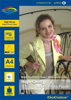 GoColor High Glossy 185 GSM - 50 Sheets Inkjet Photo Paper Unruled A4 Photo Paper