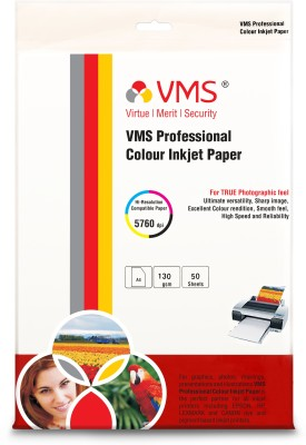 VMS High Gloss Unruled A4 Inkjet Paper(Set of 1, White)