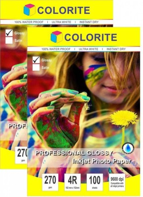Colorite 270gsm Rc Inkjet Waterproof Unruled 4R Photo Paper