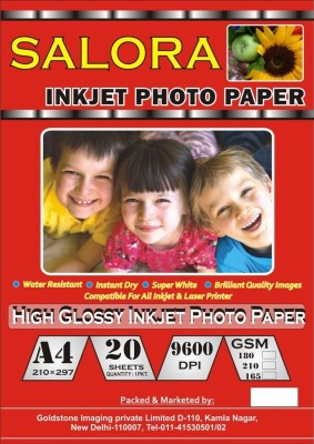 Salora 180 GSM Cast Coated 20 Sheet Pack Photo Paper Unruled A4 Printer Paper