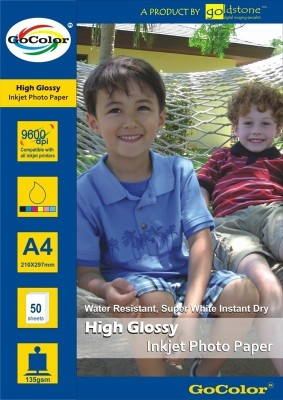 GoColor High Glossy 135 GSM - 50 Sheets Inkjet Photo Paper Unruled A4 Photo Paper