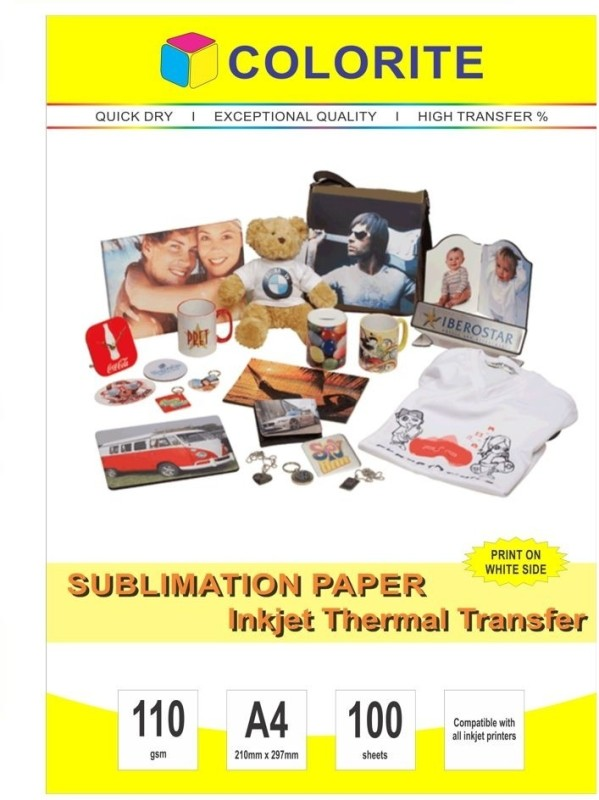 Colorite 110gsm Sublimation Heat Transfer Unruled A4 Printer Paper(Set of 1, White)