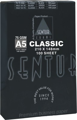 Sentur 75 GSM Classic 100 Sheet (Specially Made For Inkjet & Laser Printer) Unruled A5 ( 210 mm x 148 mm ) Printer Paper