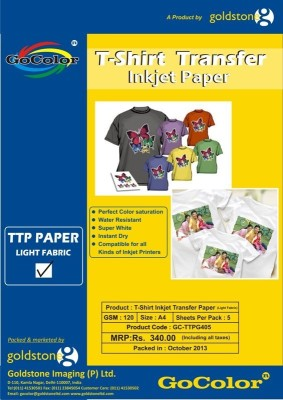 GoColor Tshirt Transfer 120 Gsm Inkjet Photo Paper Light Fabrics Unruled A4 Photo Paper