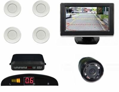 Speedwav 196321 Car Parking Sensors-White+4.3 Inch Screen & Camera-U Parking Sensor(Ultrasonic Systems)