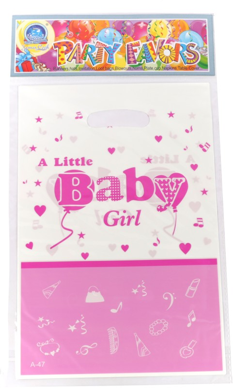 Funcart Little Baby Girl Lootbag Printed Party Bag(Pink, Pack of 6)