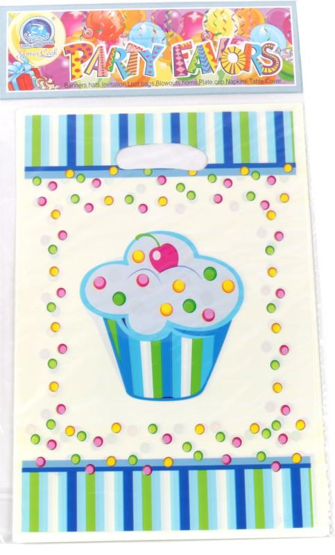 Funcart Sweet Treat Cupcake Lootbag Printed Party Bag(Blue, Pack of 6)