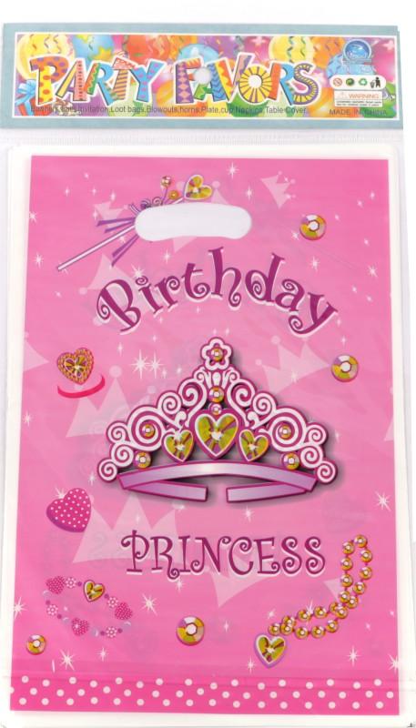 Funcart Birthday Princess Lootbag Printed Party Bag(Pink, Pack of 6)