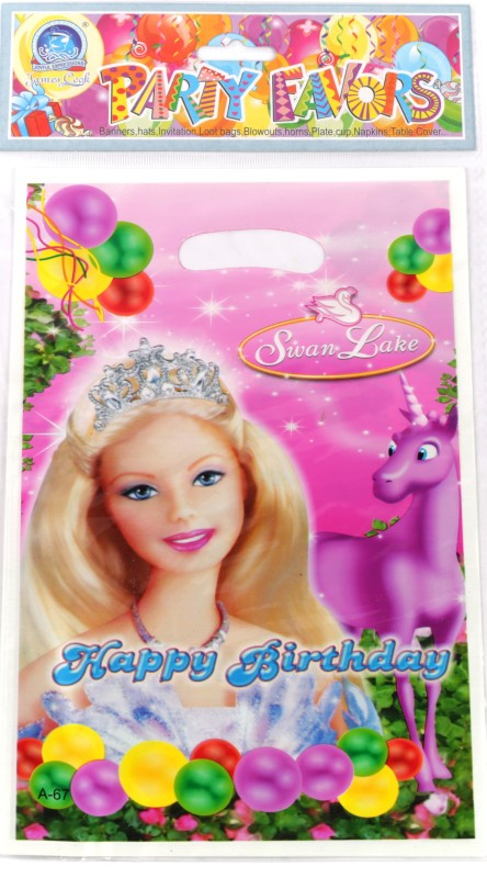 Funcart Riding Princess Lootbag Printed Party Bag(Pink, Pack of 6)