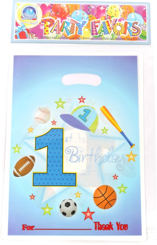 Funcart Sporty At 1 Small Printed Party Bag(Blue, Pack of 6)