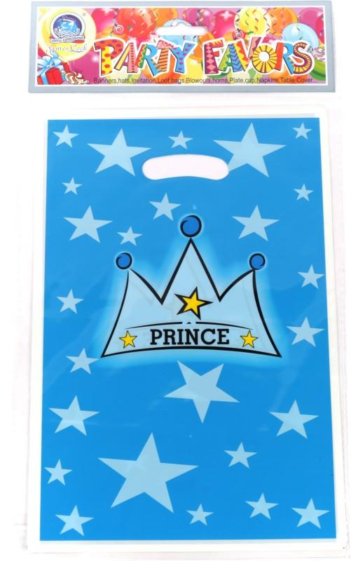 Funcart Prince Crown Lootbag Printed Party Bag(Blue, Pack of 6)