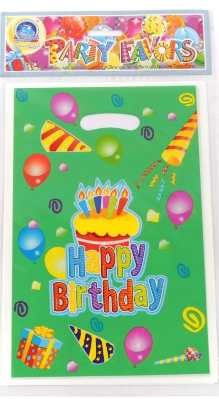 Funcart Frolic Birthday Lootbag Printed Party Bag(Green, Pack of 6)