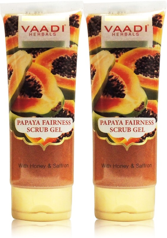 Vaadi Herbals Papaya Fairness Scrub Gel Pack of 2(220 g, Set of 2)