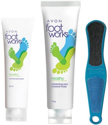 Avon Cracked Heel Cream (50g) + Exfoliating & Moisture Mask (100g) + Footfile
