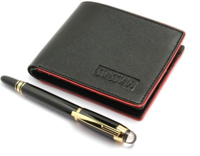 SRPC PREMIUM LEATHER MENS WALLET & EXECUTIVE ROLLERBALL Pen Gift Set(Pack of 2, Blue)