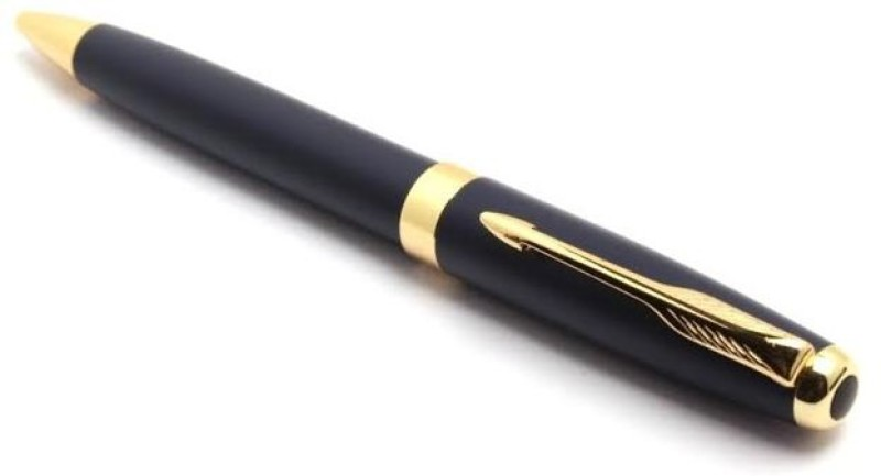 Pearl golden clip on black body Roller Ball Pen(Black)