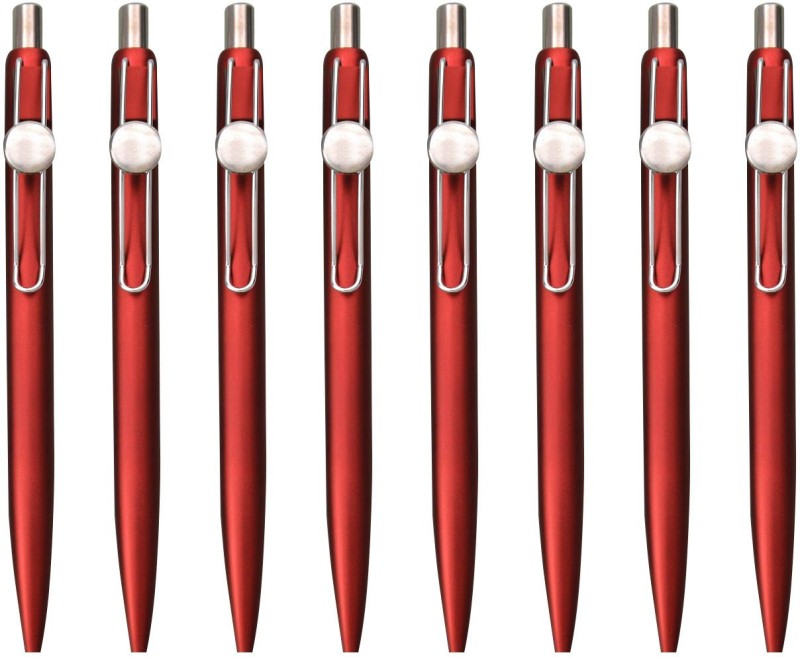 Zarsa Classic Red Roller Ball Pen(Pack of 8, Blue)