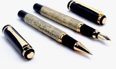 Baoer Auspicious Running Horses Collection Pen Gift Set(Pack of 2, Black)