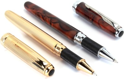 SRPC JINHAO EXECUTIVE MESH GOLD & COFFEE MARBLE MIGHTY Roller Ball Pen