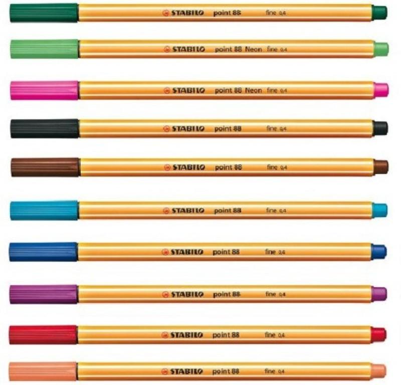 STABILO Emotion Fineliner Pen(Pack of 10, Black, Blue, Light Green, Brown, Natural Biege, Dark Green, Magenta, Red, Purple, Light Blue)