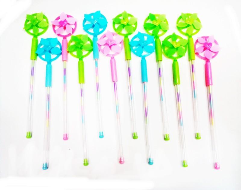 Palakz Fan Multicoloured Ink Gel Pen(Pack of 12, Multicoloured)