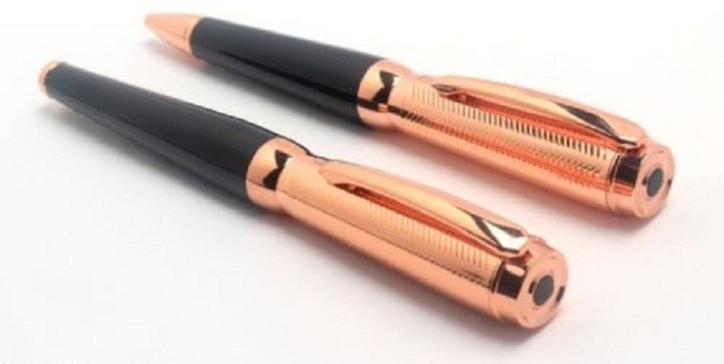 Pearl Rose gold Multi-function Pen(Pack of 2, Black)