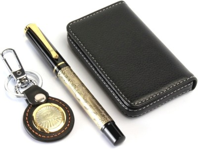 SRPC PREMIUM LEATHER ATM WALLLET , KEYCHAIN AND DESIGNER ROLLERBALL Pen Gift Set